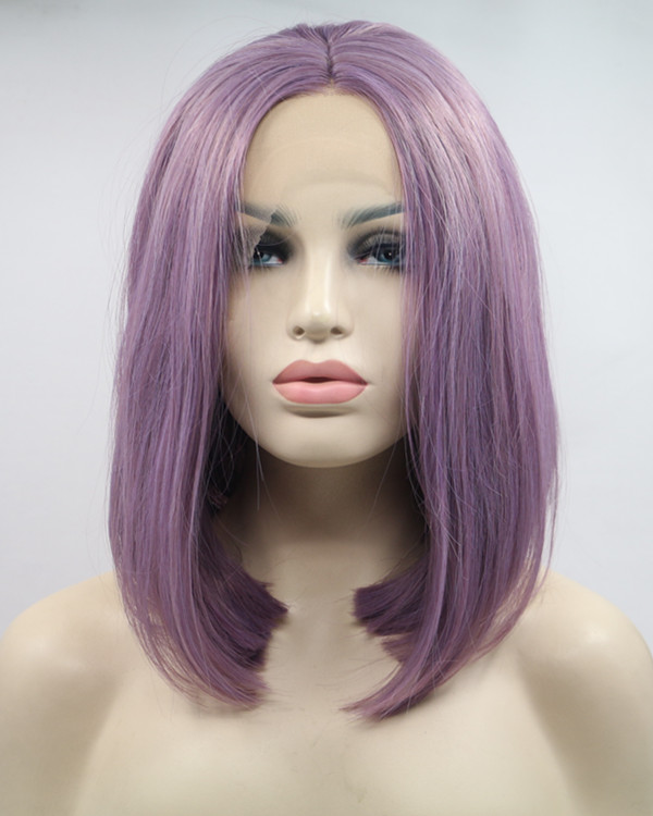 2018 Best Seller Lavender Purple Medium Long Straight Bob Synthetic Lace Front Wig 180% Density Elegant Lilac Purple Violet Wig