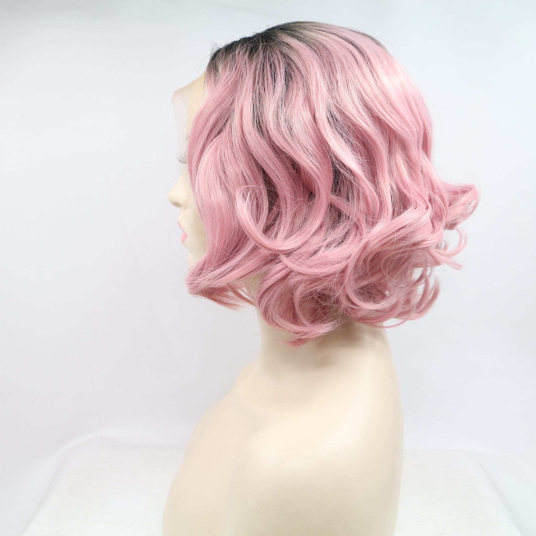 2018 Black Pink Ombre Short Wavy Synthetic Lace Front Wig 180% Density #1B/Pink Wig