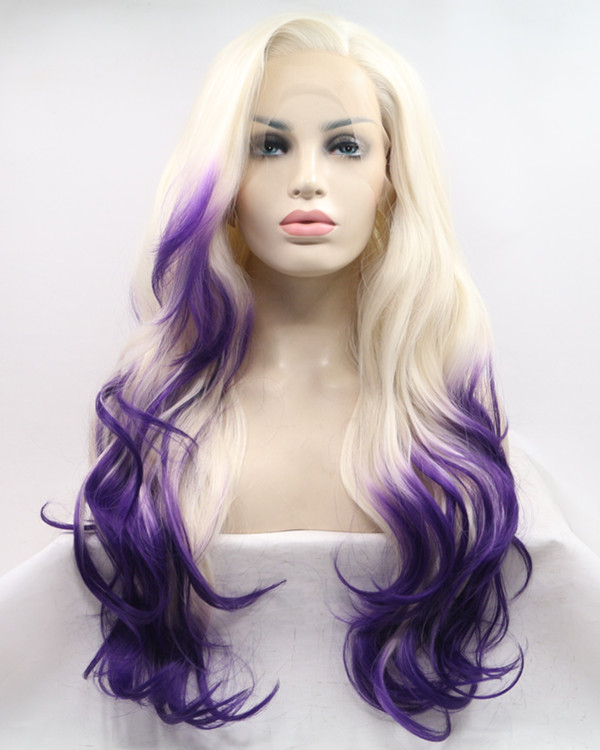 2018 New Arrival Blonde Purple Ombre Long Wavy Synthetic Lace Front Wig 180% Density Elegant #613/Purple Lace Wig