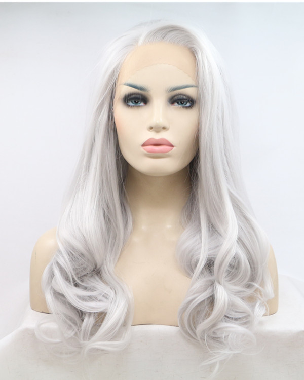 2017 New Arrival Silver White Long Wavy Synthetic Lace Front Wigs 180% Density Silver Medium Long Wavy Hair Lace Wig