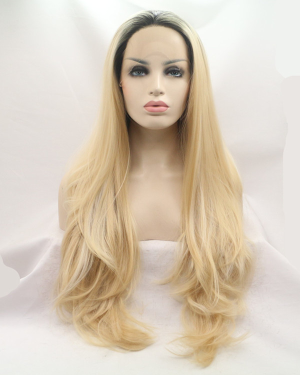 2017 New Arrival Black Blonde Ombre Long Wavy Synthetic Lace Front Wig 180% Density Lace Wig