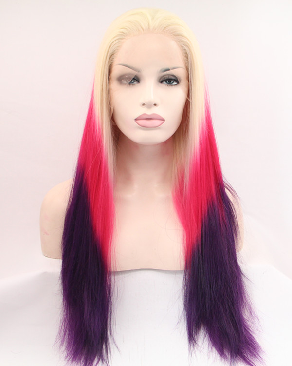 FESHFEN Blonde Red Purple Ombre Long Straight Synthetic Lace Front Wig 180% Density Blonde Ombre Lace Wig