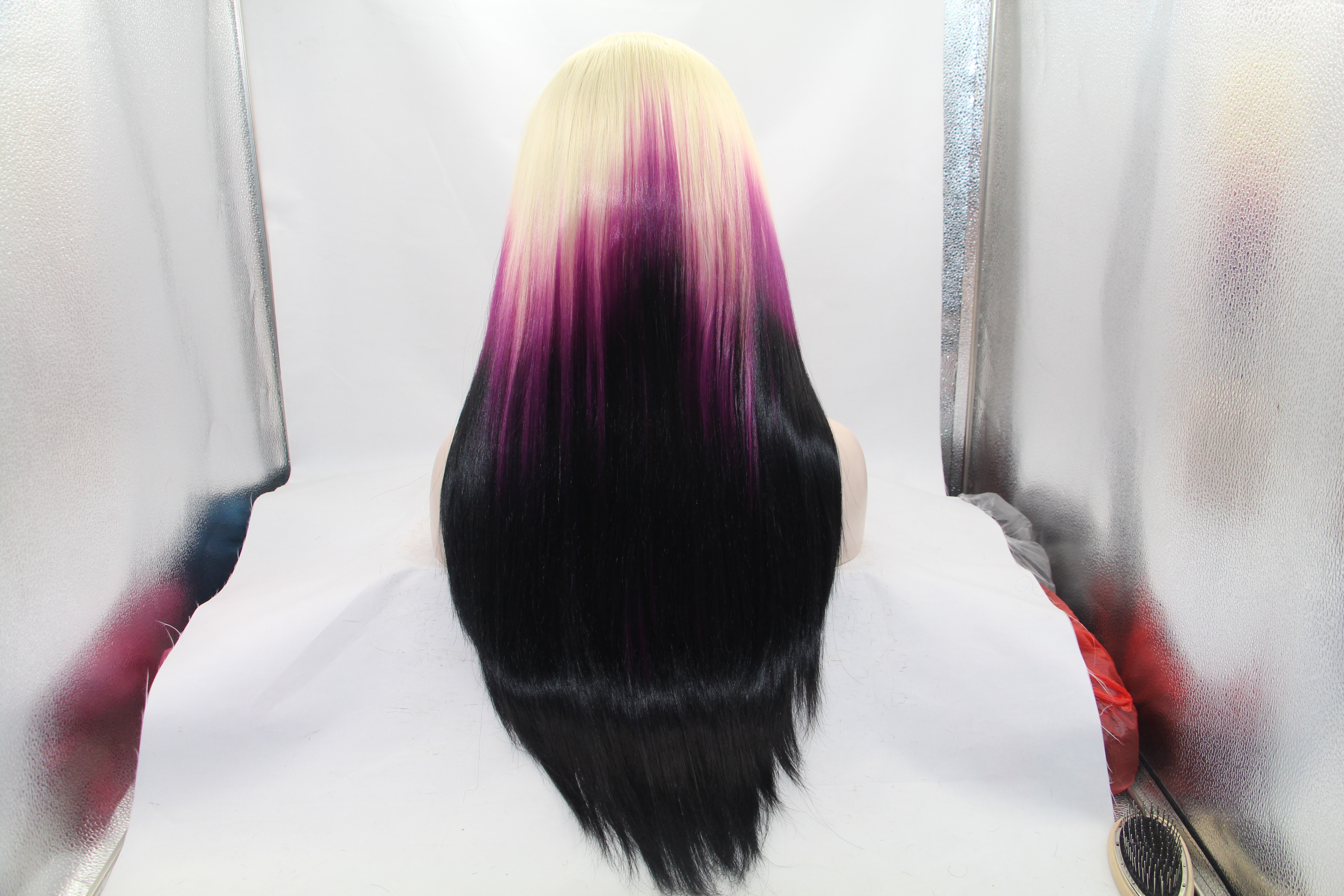 Feshfen Blonde Magenta Black Ombre Long Straight Synthetic