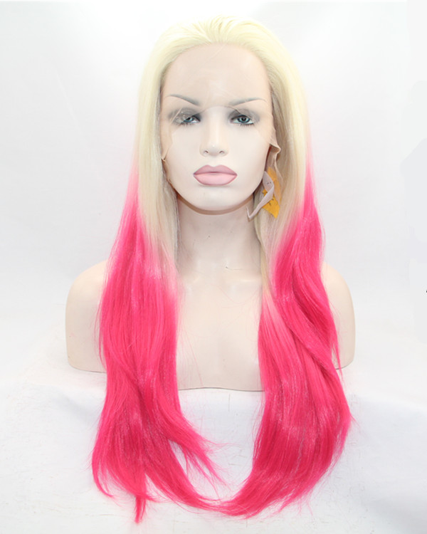 FESHFEN Blonde Magenta Black Ombre Long Straight Synthetic Lace Front Wig 180% Density Blonde Pink Lace Wig