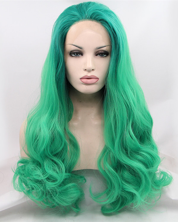 FESHFEN Green Long Wavy Synthetic Lace Front Wig 180% Density Green Lace Wig