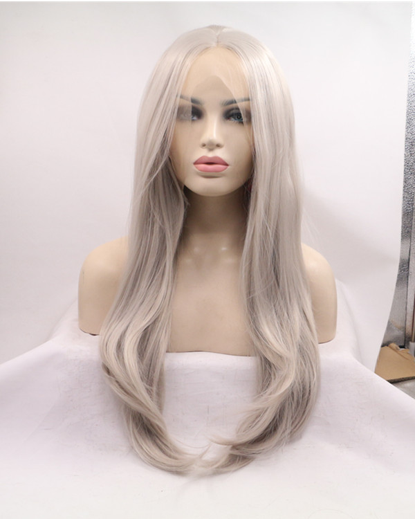 2017 New Arrival Silver Grey Long Wavy Synthetic Lace Front Wig 180% Density Lace Wig Lace Frontal