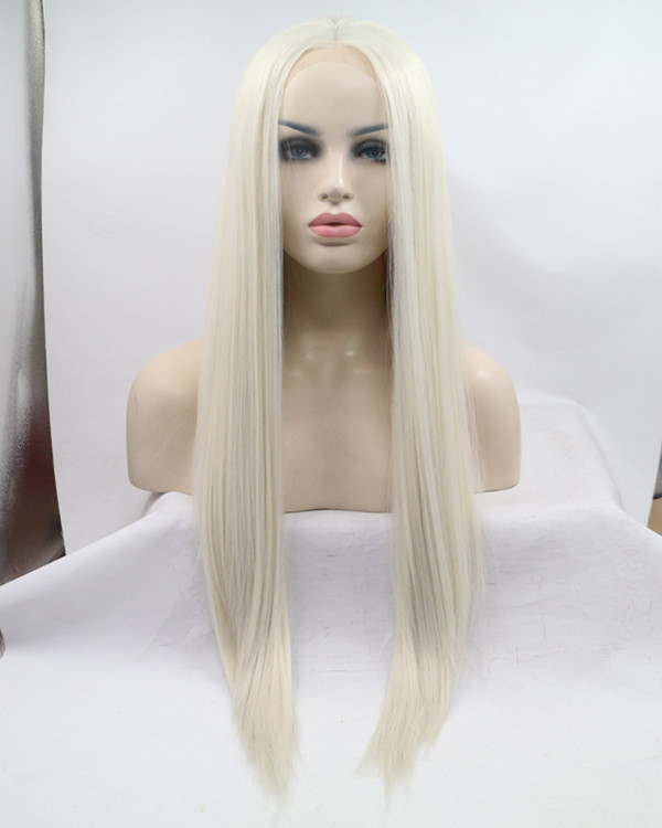 FESHFEN Bleach Blonde Long Straight Synthetic Lace Front Wigs 180% Density Light Blonde Lace Wig