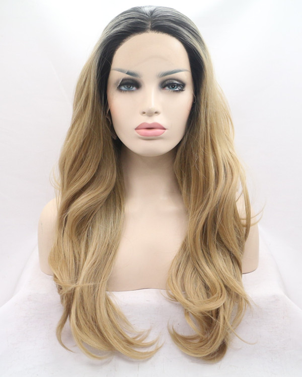 2018 Chesenut Brown Ombre Long Wavy Synthetic Lace Front Wig 180% Density Honey Brown Ombre Wavy Lace Wig