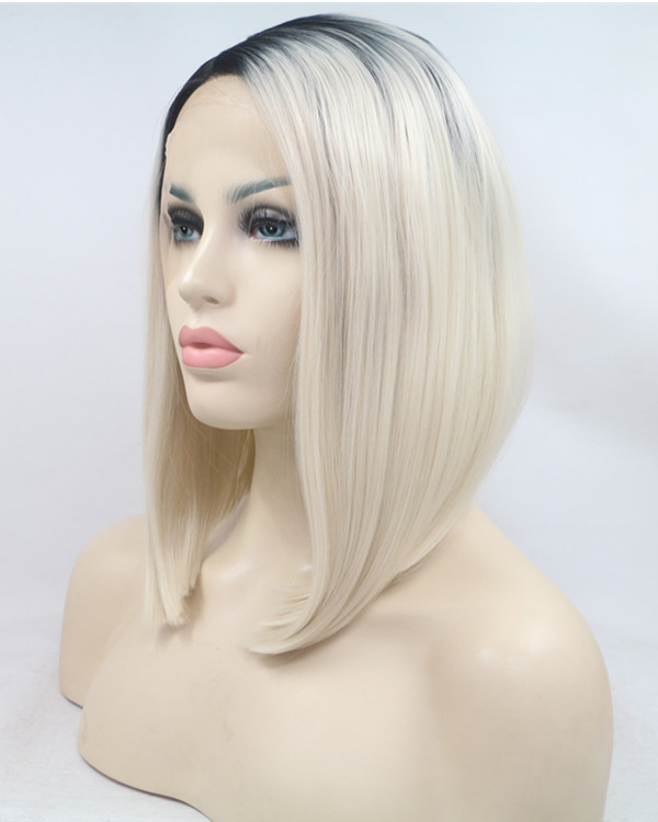 2018 Bleach Blonde Ombre Medium Long Straight Bob Synthetic Lace Front Wig 180% Density Black Blonde Ombre Lace Wig