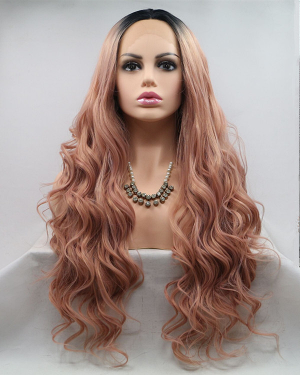 2018 New Arrival Rose Gold Peachy Ombre Long Wavy Sythentic Lace Front Wig Black Rose Gold Ombre Lace Wig 180% Density