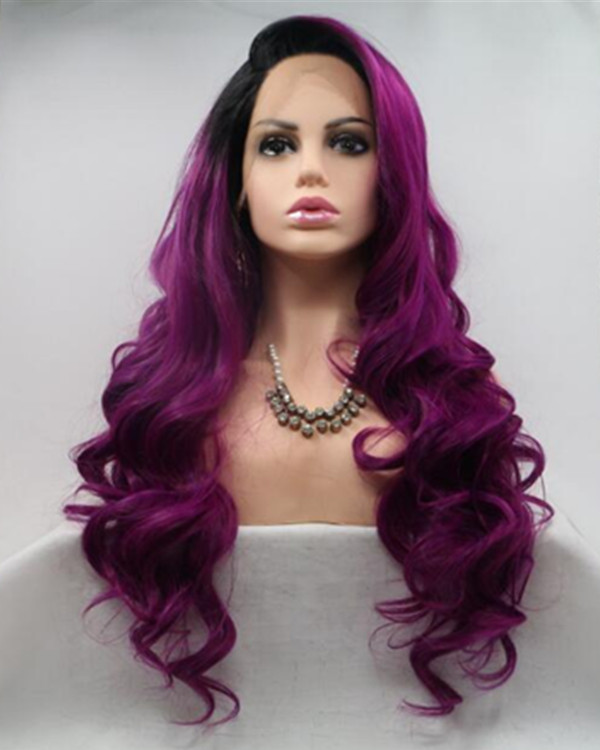 2018 New Arrival Purplish Red Ombre Black Purple Long Wavy Sythentic Lace Front Wig Purple Pink Wig 180% Density
