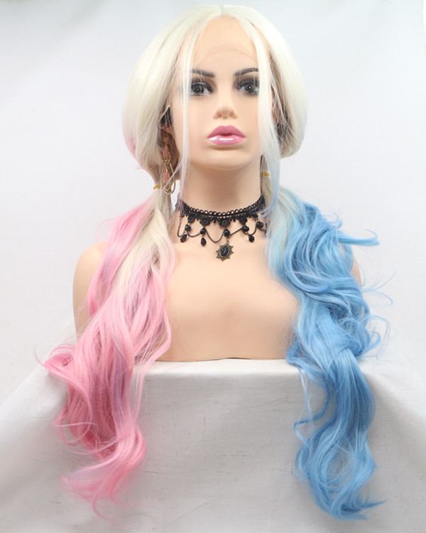2018 New Suicide Squad DC Comics Harley Quinn Pink/Blue Blonde Ombre Synthetic Lace Front Wig Long Wavy Halloween Cosplay Wig For Girls With Bangs