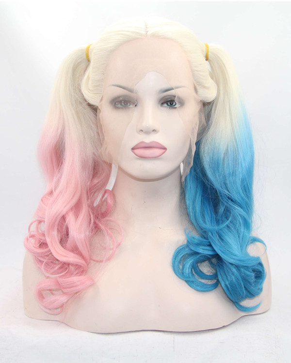 2018 New Suicide Squad Harley Quinn Pink/Blue Blonde Ombre Synthetic Lace Front Wig Long Wavy Halloween Cosplay Wig For Girls With Bangs (All Parting Laced)