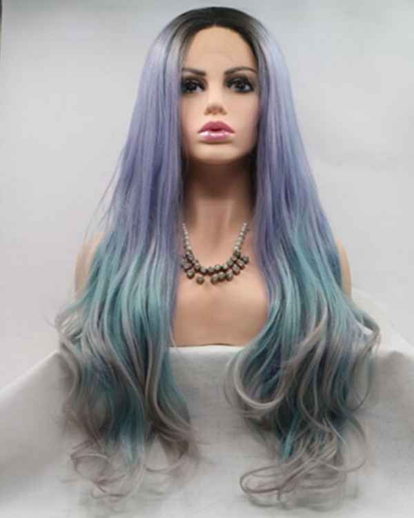 FESHFEN 2019 New Black Root Purple Blue Grey Colorful Long Wavy Synthetic Lace Front Wig 180% Density Mixed Color Rainbow Lace Wig