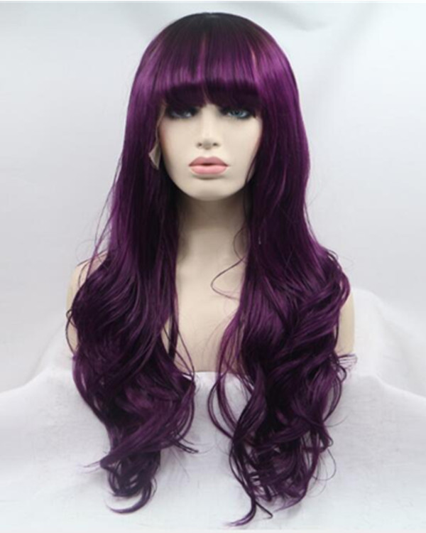 FESHFEN 2019 New Arrival Dark Purple Long Wavy Synthetic Lace Front Wig 180% Density Purple Lace Wig With Bang