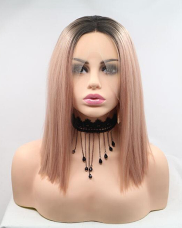 FESHFEN 2019 New Arrival Rose Gold Ombre Straight Medium Length Short Cut Blunt Synthetic Lace Front Wigs 180% Density Peachy Pink Lace Wig