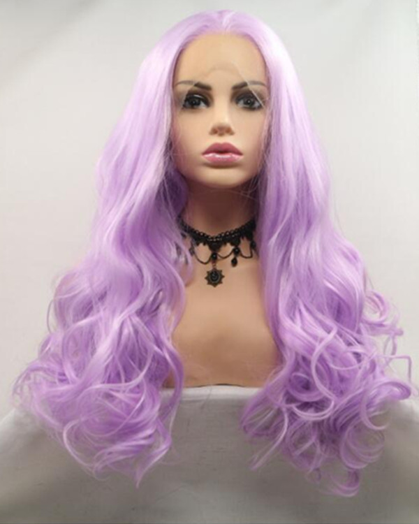 FESHFEN 2019 New Arrival Light Purple Long Wavy Synthetic Lace Front Wig 180% Density Purple Lace Wig