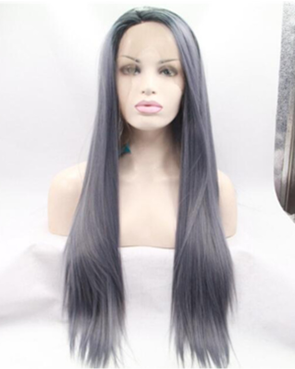 2018 New Arrival Smoky Blue Long Straight Synthetic Lace Front Wig Blue Lace Wig 180% Density