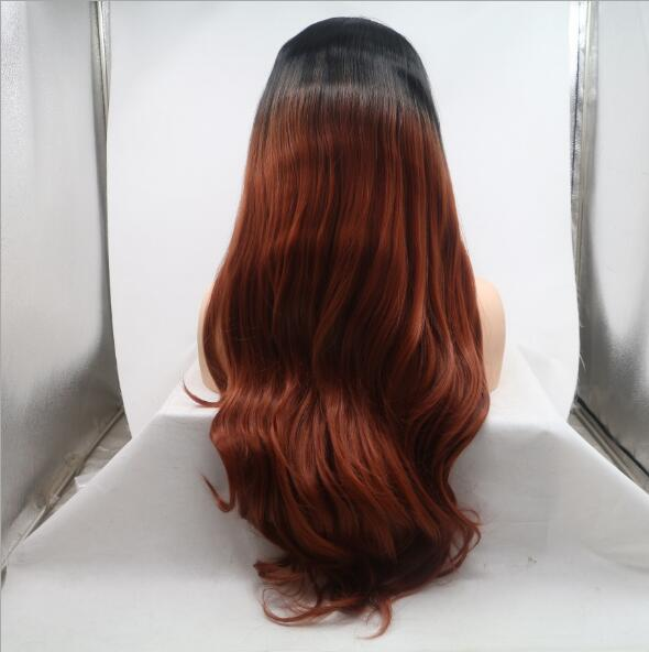 FESHFEN Black Auburn Ombre Long Wavy Synthetic Lace Front Wig #1B/33 Lace Wig 180% Density - Click Image to Close
