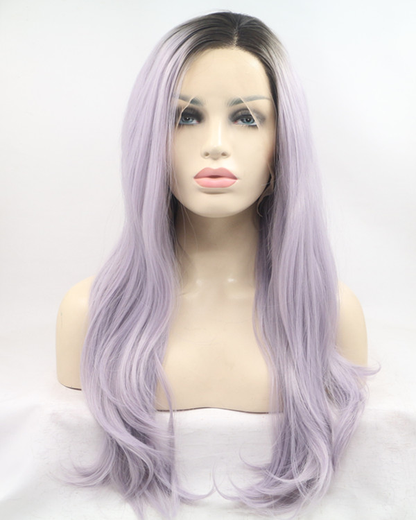 FESHFEN New Black Purple Ombre Long Wavy Light Purple Ombre Sythentic Lace Front Wig Lilac Lavender Violet Wig