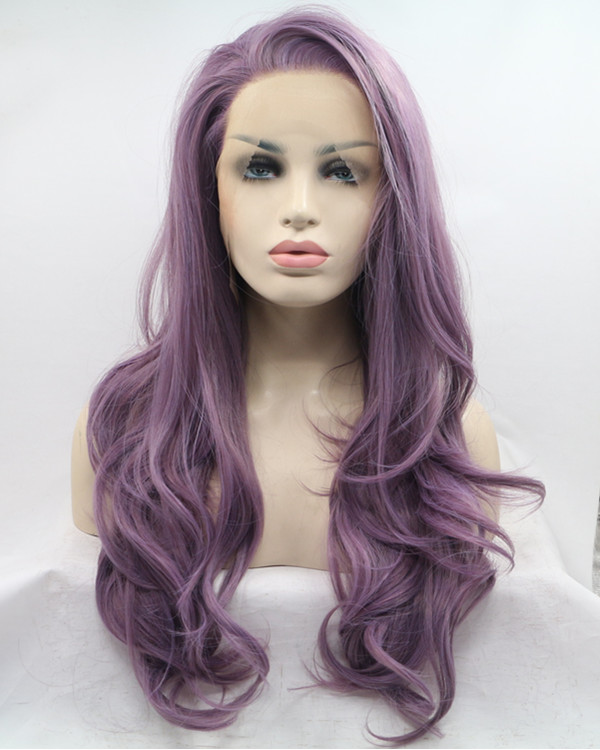 2018 Best Seller Lavender Purple Long Wavy Synthetic Lace Front Wig 180% Density Elegant Lilac Purple Violet Wig