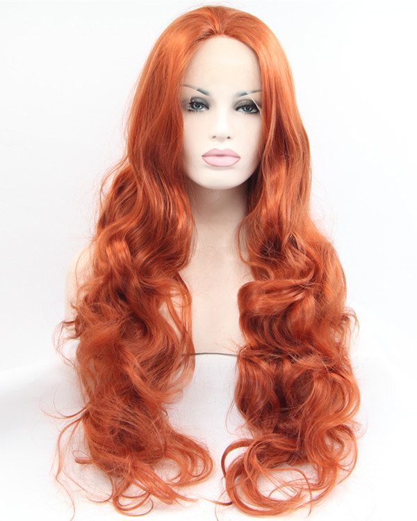 2017 New #360 Copper Red Long Wavy Sythentic Lace Front Wig Sunset Hair Color Orange Wig 180% Density