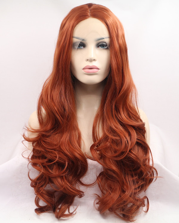 2017 New #350 Copper Red Long Wavy Sythentic Lace Front Wig Sunset Hair Color Orange Wig 180% Density