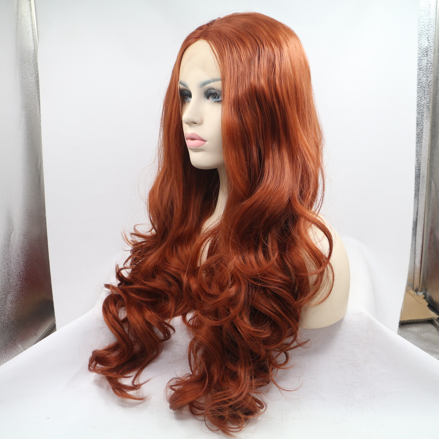 2018 New 350 Copper Red Long Wavy Sythentic Lace Front
