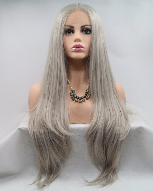2018 New Arrival Silver Grey Long Wavy Sythentic Lace Front Wig 180% Density Lace Wig Lace Frontal