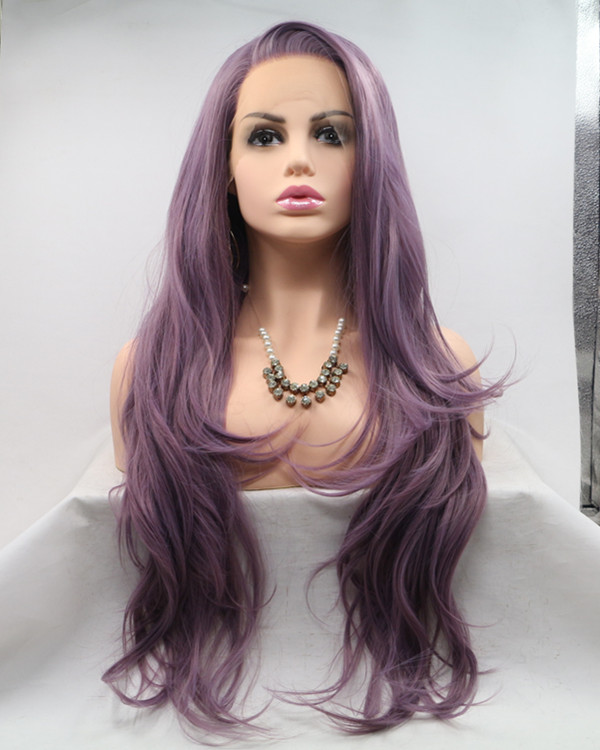 2018 New Arrival Lavender Purple Long Wavy Synthetic Lace Front Wig 180% Density Elegant Lilac Purple Violet Wig