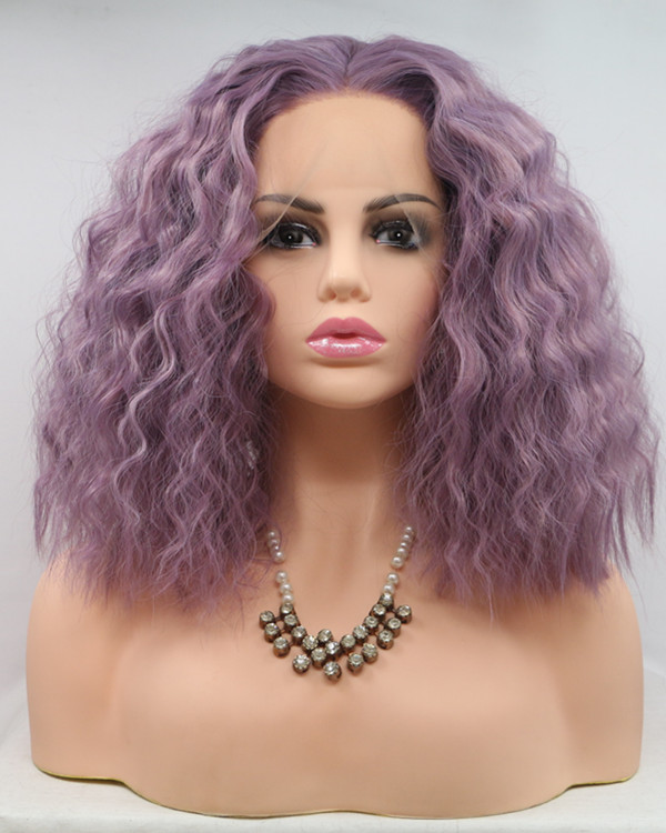 2018 New Arrival Lavender Purple Wet Wavy Medium Long Synthetic Lace Front Wig 180% Density Elegant Lilac Purple Violet Water Wave Lace Wig