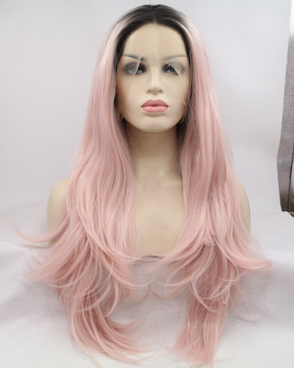 2018 New Arrival Black Pink Ombre Natural Wavy Lace Front Wig Pastel Pink Ombre Long Wavy Lace Wig