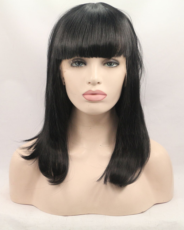 2018 New Natural Black Medium Long Straight Synthetic Lace Front Wig With Bang 180% Density Black Straight Lace Wig