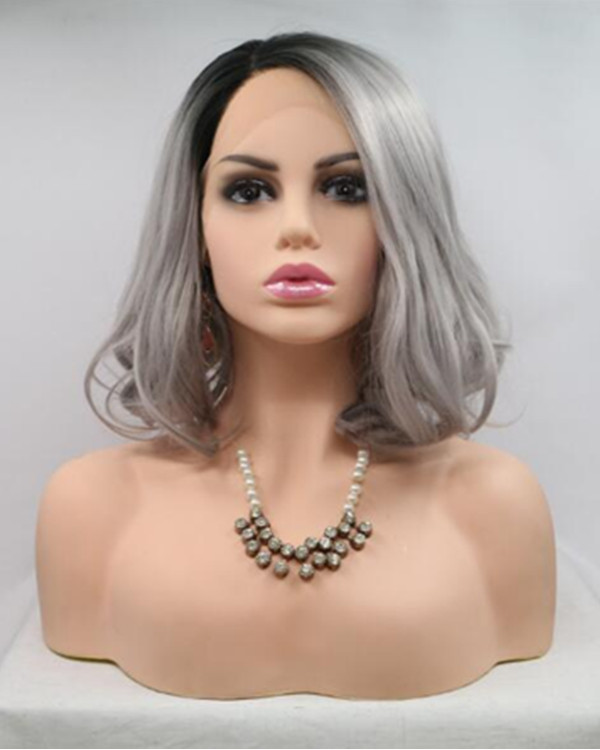 2018 New Black Grey Ombre Short Wavy Synthetic Lace Front Wig 180% Density #1B/Grey Granny Ombre Bob Lace Wig