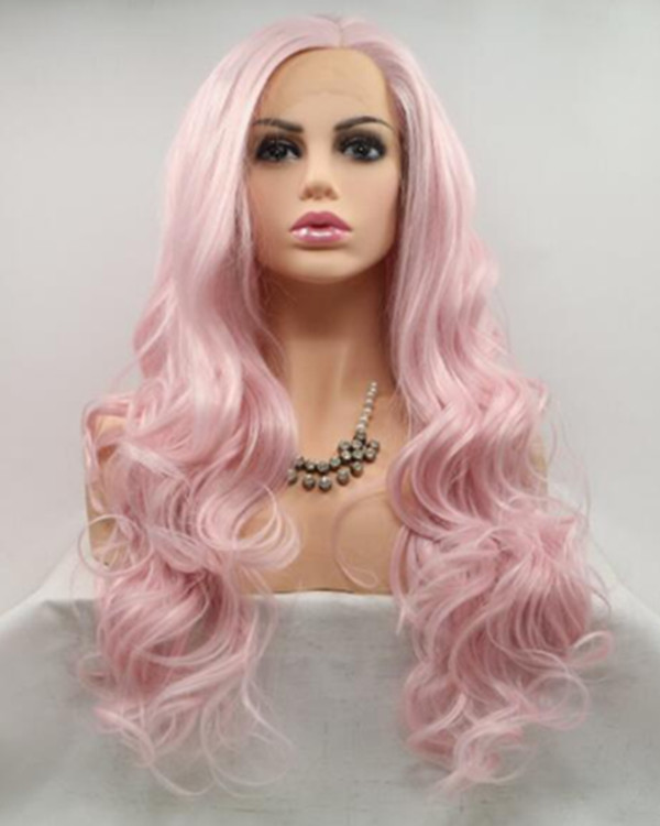 FESHFEN 2018 New Pastel Pink Long Wavy Synthetic Lace Front Wig 180% Density Pink Lace Wig