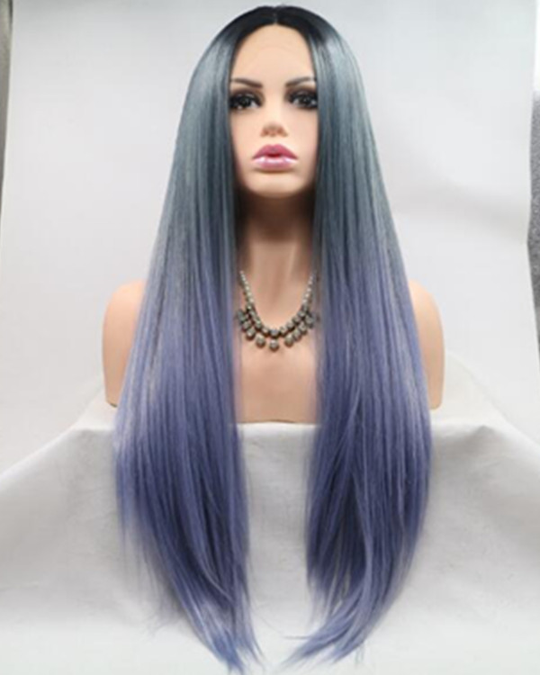 FESHFEN 2018 New Blue Ombre Long Straight Synthetic Lace Front Wig 180% Density Blue Ombre Colorful Lace Wig