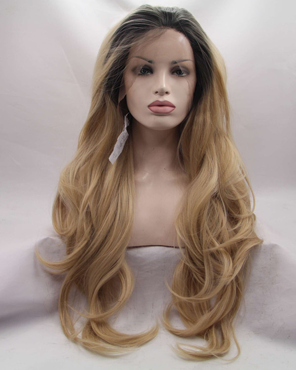 FESHFEN 2018 New Light Brown Ombre Long Wavy Synthetic Lace Front Wig 180% Density Blonde Brown Lace Wig