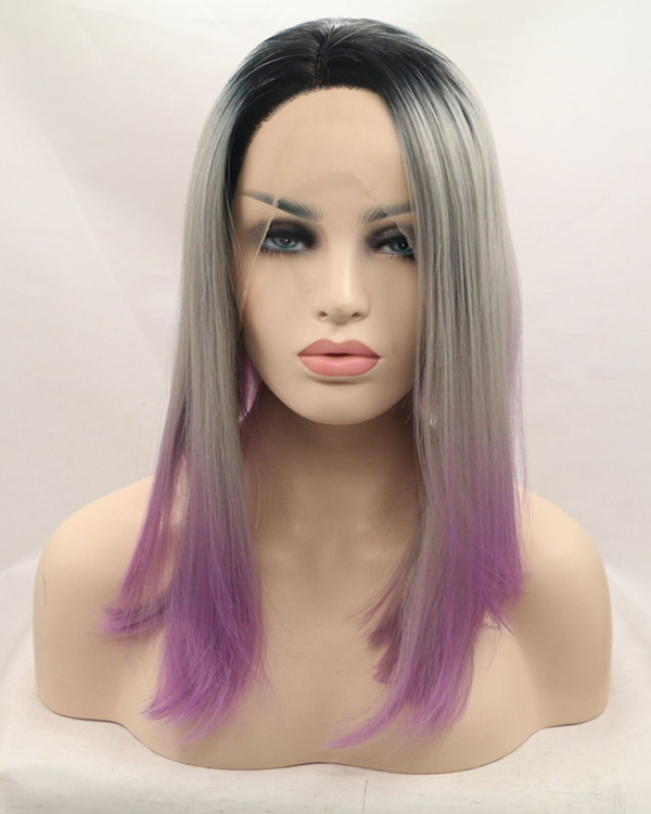 FESHFEN 2018 New Black Silver Purple Ombre Medium Long Straight Synthetic Lace Front Wig 180% Density Purple Lace Wig