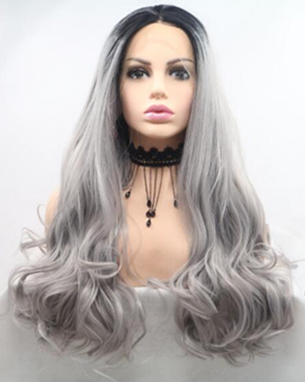2018 New Arrival Grey Ombre Long Wavy Synthetic Lace Front Wig #1B/Grey Lace Wig 180% Density