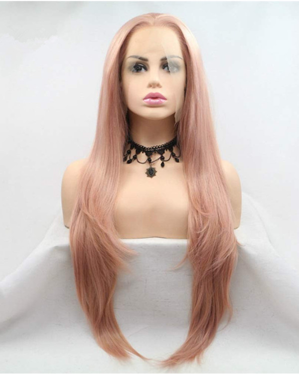 FESHFEN 2019 New Rose Gold Long Straight Synthetic Lace Front Wig 180% Density Peachy Long Straight Lace Wig