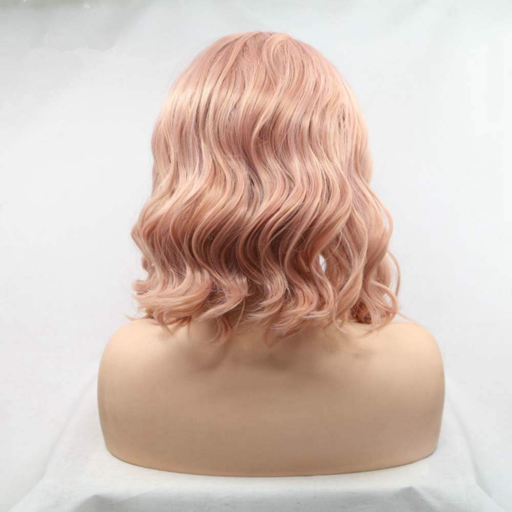 FESHFEN 2019 New Rose Gold Short Wavy Synthetic Lace Front Wig 180% Density Peachy Wavy Lace Wig