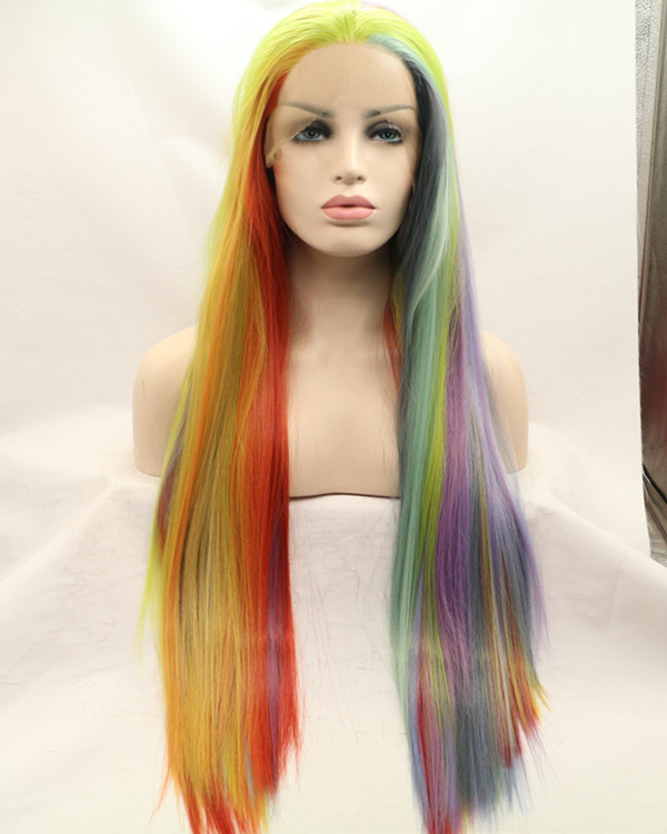 2018 Hot Sale Rainbow Long Straight Synthetic Lace Front Wigs Long Colorful Hair Lace Wig