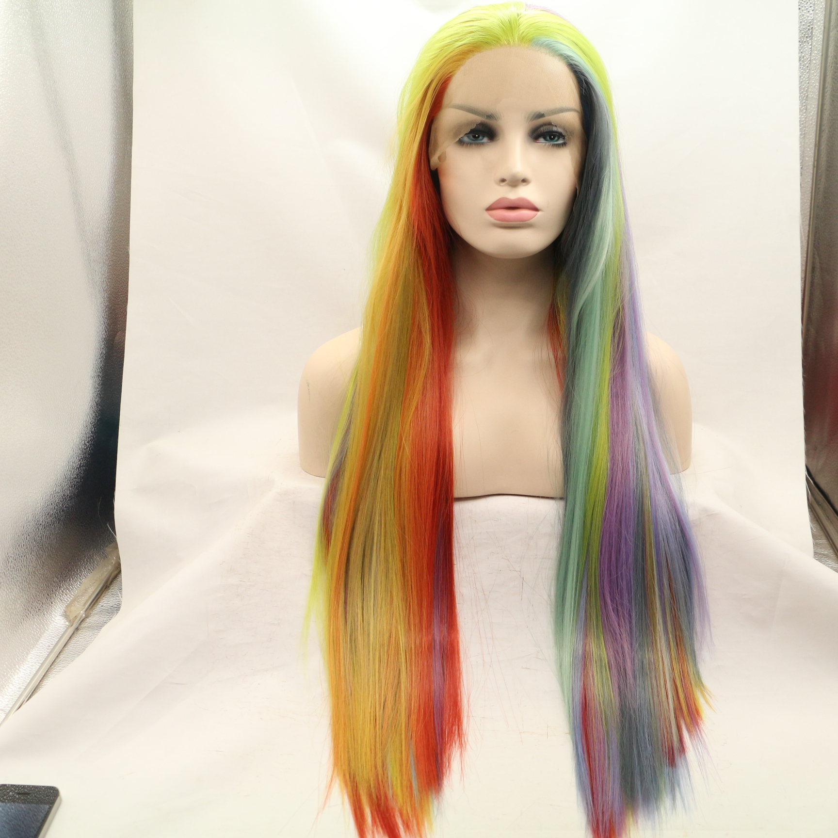 2017 New Arrival Rainbow Long Straight Synthetic Lace Front Wigs
