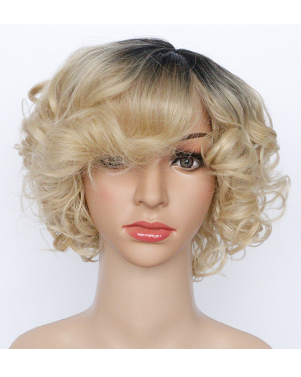 2017 Best Seller New Ombre Gold Short Wavy Costume Wig Blode Ombre Wig For Women