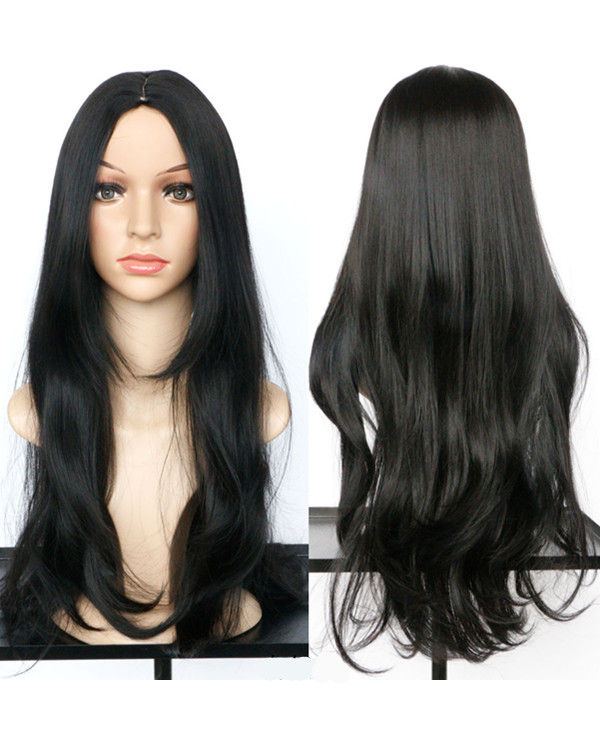 2017 Natural Black Wavy Costume Wig Long Wavy For Women