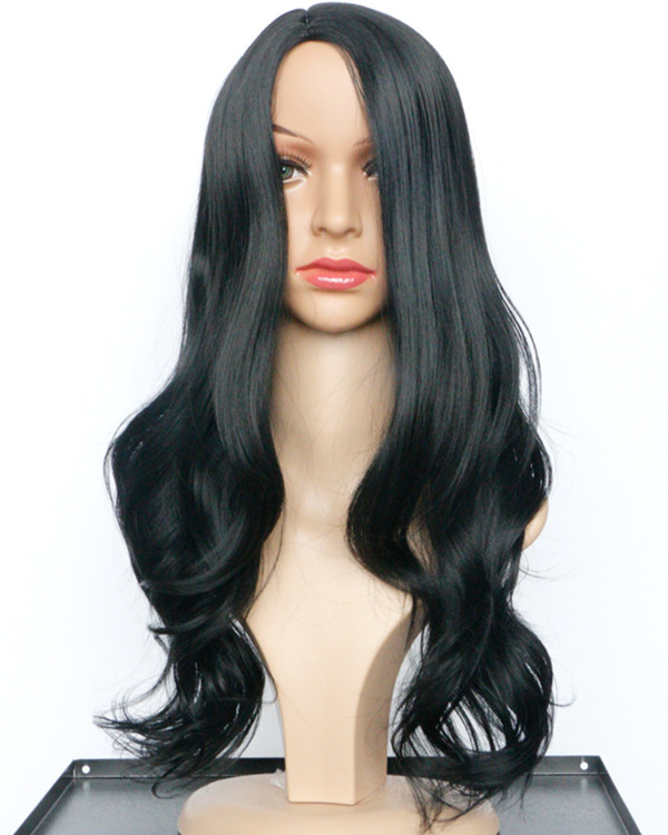 2017 Natural Black Long Wavy Costume Wig Black Wig For Women