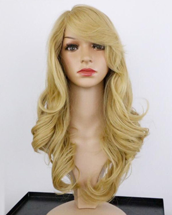 2017 New Blonde Long Wavy Costume Wig For Women With Bang
