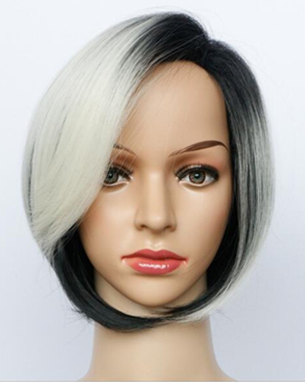 FESHFEN Silver Black Bob Short Wig For Women Chic Wig With Bang