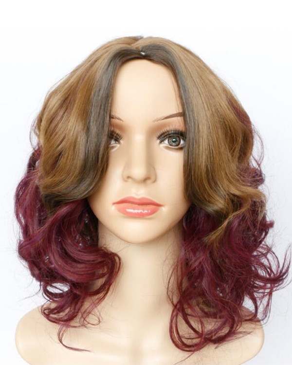 2017 New Ombre Brown To Wine Red Wavy Costume Wig Ombre Wig For Women