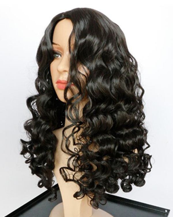2018 Natural Black Long Curly Costume Wig Wavy Wig For Women